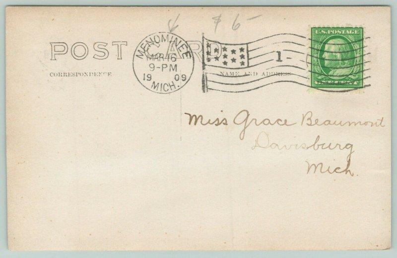 Menominee Michigan~Huge Victorian Mansion~Man Pokes Head Out Snowbank~1909 RPPC