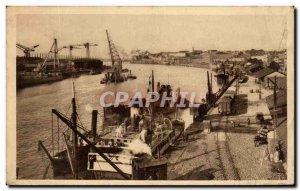 Old Postcard Nantes The Port Boat Docks