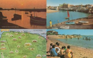Wells Next To The Sea Norfolk Sunset Map 4x 1970s Postcard s