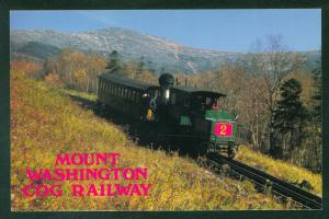 Mt Washington Cog Railway New Hampshire NH No 2 Engine Train Railroad Postcard