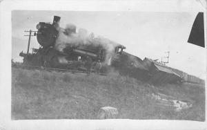 RPPC Coal Train Wreck Locomotive Engine #1568 (Location, RR unknown) RPPC c1917