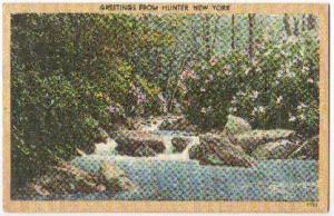 Greetings From Hunter NY 1951 -linen-