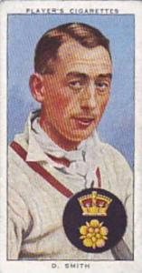 Player Vintage Cigarette Card Cricketers 1938 No 25 D Smith Derbyshire & England