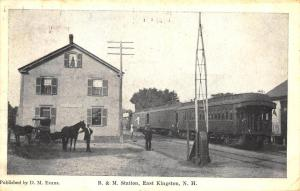 East Kingston NH B&M Railroad Station Train Depot Postcard