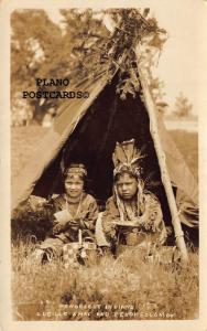 PENOBSCOT INDIANS-LUCILLE SHAY & TEDDY SOLOMON RPPC REAL PHOTO POSTCARD