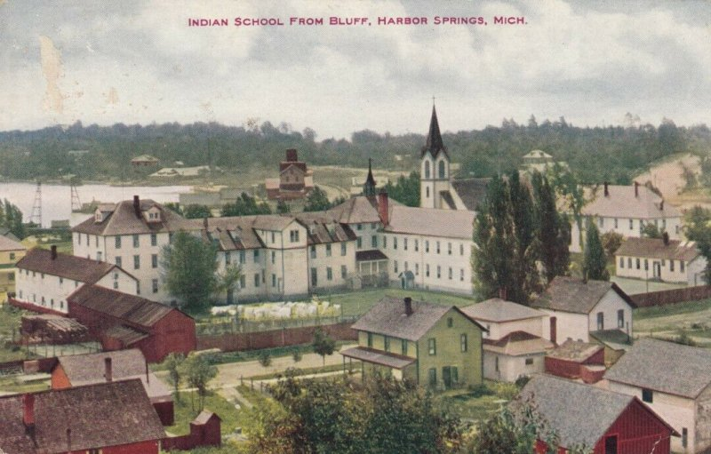 HARBOR SPRINGS, Michigan, 1900-10s; Indian School from Bluff