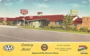 1940s Ft Worth Texas Century Motel Roadside MWM postcard 10512