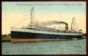 dc1058 - FORT WILLIAM Ontario Postcard 1913 Steamer HAMONIC Northern Navigation