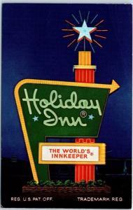 Frederick, Maryland Postcard HOLIDAY INN Hotel Sign Highway 40 Roadside c1960s