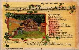 Vintage Postcard My Old Kentucky Home Song Music Lyrics 1953  Stephen Foster 270
