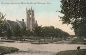 Methodist Church on Broadway Avenue - Winnipeg, Manitoba, Canada - pm 1911 - DB