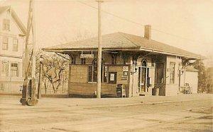 Saugus MA Railroad Station Train Depot Real Photo Postcard