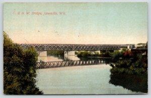 Janesville Wisconsin~C&NW Railroad Bridge Reflects in River~1911