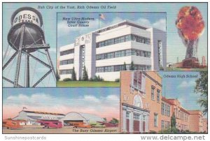 High School Airport Court House and Oil Well Odessa Texas Curteich