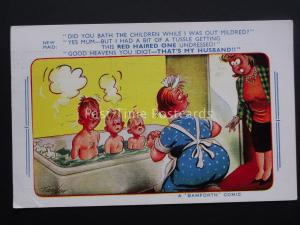 Comic Postcard DID YOU BATH THE CHILDREN MILDRED? c1950/60's by Bamforth 1875