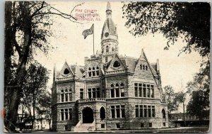Pittsfield, Illinois Postcard PIKE COUNTY COURT HOUSE Building View 1908 Cancel