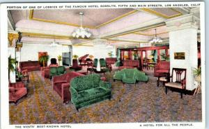 Los Angeles, CA Postcard Portion of one of the Lobbies of Famous HOTEL ROSLYN