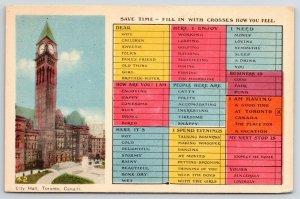 Toronto ON 3:20 PM~City Hall Clocktower~Folks Busy Person's Correspondence 1920s
