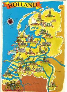 Holland, Map, unused Postcard