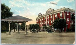 Hot Springs, Arkansas Postcard Rockafellow Bath House & Hotel Street View 1914