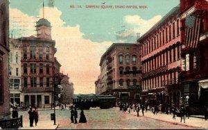 Michigan Grand Rapids Trolley At Canpau Square 1913