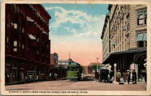 San Antonio Texas~Trolley Picks Up on Avenue C~North From Houston Street~1920s