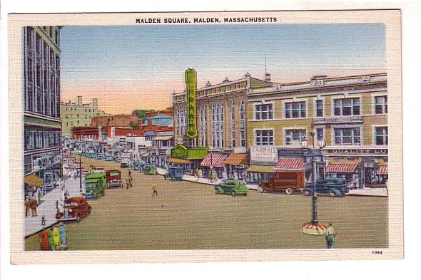 Nice Downtown view with Store, Cars, Trucks, Malden Square, Massachusetts, Am...