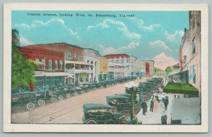 St Petersburg Florida~Central Avenue West~Busy Shopping~Hardware~Deco~1920s
