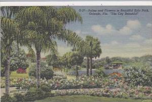 Florida Orlando Palms And Flowers In Beautiful Eola Park The City Beautiful
