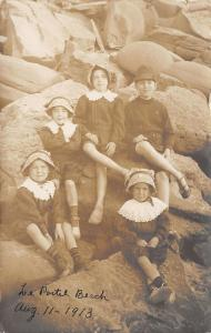 Le Portel Beach France~5 Children Pose on Rocks~Matching Outfits~1910 RPPC