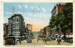 Genesee Street, Looking North from Columbia - Utica, New York pm 1917