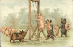 Pig Fantasy Playground Swing Anthropomorphic c1905 Postcard