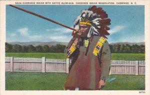 Cherokee Indian With Native Blow Gun Cherokee Indian Reservation North Carolina