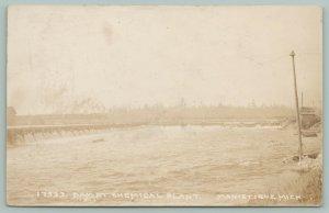 Manistique MI~Dam Located by Chemical Manufacturing Plant RPPC c1910 Postcard