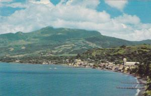Aerial View, St.PierreMont Pelee in background, Martinique, French West Indie...