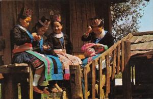 Thailand Chiengmai Province Young Meo-Hill Tribe Girls Sewing Dresses