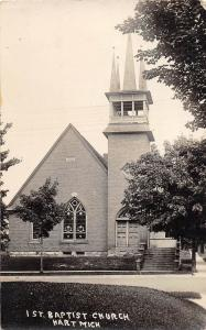 D31/ Hart Michigan Mi Real Photo RPPC Postcard c1910 1st Baptist Church