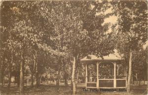 Pleasanton Kansas~Gazebo in the Park~Trees~Fence~1909 Sepia Postcard