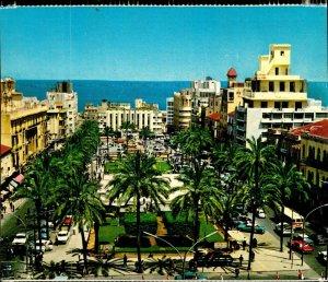 CI01334 lebanon beirut martyr s square old cars palmtrees mediteraneean sea