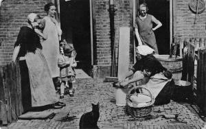 Scheveningen Netherlands Haringvrouwtje Woman Cutting Fish Postcard J81025