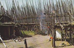 Corn Grinding, Smoke Rack & Entrance to Longhouse, Huron Indian Village, Midl...