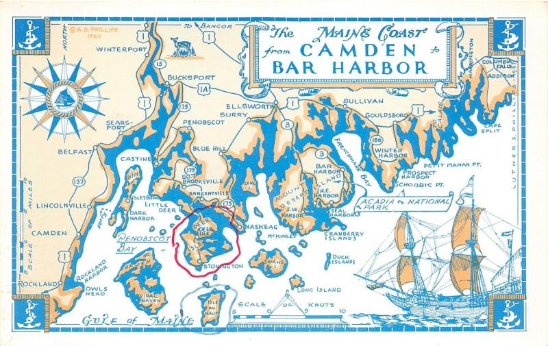 Map of Maine Coast-Camden to Bar Harbor~Note on Back~1960s ... Map Maine Coast on maine school districts map, acadia maine map, blue hill maine map, midcoast maine map, state of maine map, maine bay map, gorham maine street map, maine western map, maine woods map, maine storm map, maine east map, camden maine map, maine harbor map, maine oregon map, maine desert map, maine north map, new orleans map, maine mall portland maine map, maine map with latitude and longitude, bar harbor map,