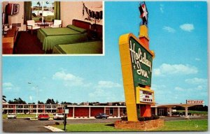 DUNN, North Carolina Postcard HOLIDAY INN MOTEL I-95 Roadside c1960s Chrome