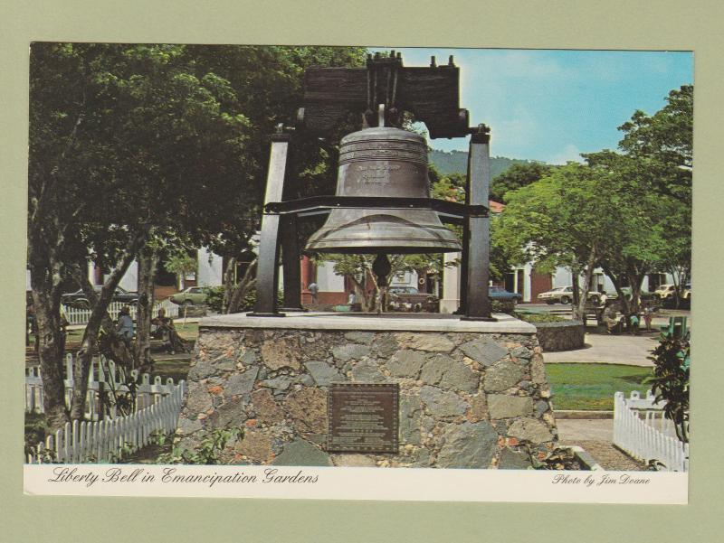 Liberty Bell In Emancipation Gardens Postcard St. Thomas U.S. Virgin Islands