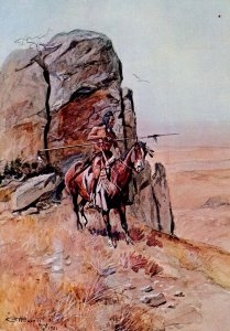 Western (US) -  The Outpost  Artist:  Charles Marion Russell       (4 X 6)