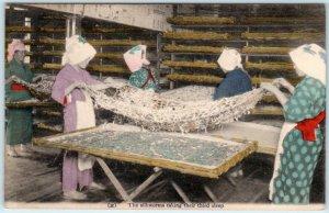 JAPAN ~ Japanese Women SILKWORMS TAKING THIRD SLEEP c1910s Handcolored Postcard