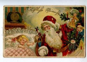202782 RUSSIA Ded Moroz SANTA CLAUS Dolls Girl Vintage LITHO