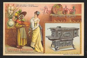 VICTORIAN TRADE CARD Spigers/Peckman Redwood Stove Bl'k Cook
