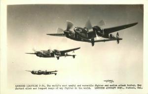 Lockheed Lightening Military Aircraft WW2 1940s RPPC #P-38 Photo Postcard 3450