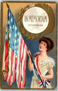 1910s DECORATION DAY Patriotic Postcard IN MEMORIAM Woman w/ Tattered U.S. Flag